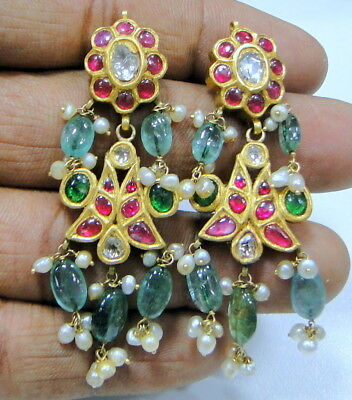 Vintage antique 20K solid gold diamond polki earrings kundan meena work jewelry