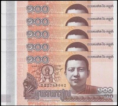 CAMBODIA 100 Riel X 5 Pieces (PCS), 2014, P-65, UNC World Currency