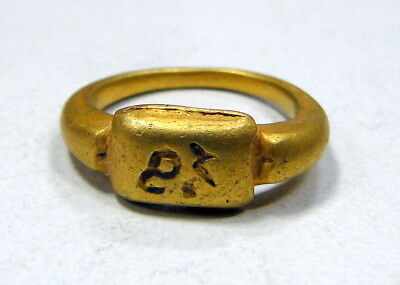 vintage antique 24 K solid gold ring byzantine 9455