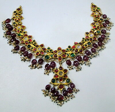 vintage antique old gold kundan meena emerald necklace pendant diamond ruby