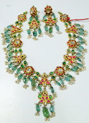 vintage antique 20 ct Gold polki Diamond necklace set kundan meena