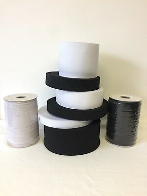 Black & White Stretch Elastic Flat Elastic Waist Band Cuffs Woven Fast Dispatch