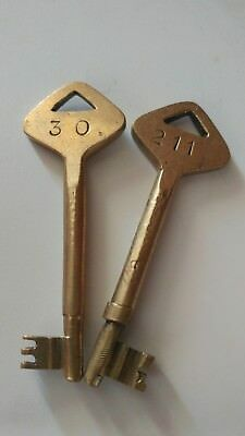vintage brass metal hotel motel room keys #30 & # 211