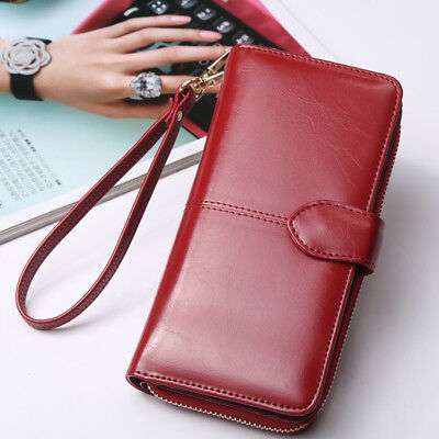 Women Long Leather Wallet Large Capacity Purse Card/Phone Holder Zip