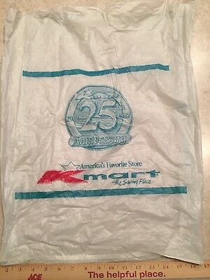 "Vintage 1987 KMART 25th Anniversary Plastic Shopping bag, Large 23"" x 18"""
