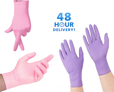 Nitrile Purple Violet Pink Disposable Gloves Powder Free Extra Strong Medical