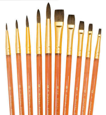 10 Pure Sable Brushes Watercolour Painting Royal Langnickel Set For Artists