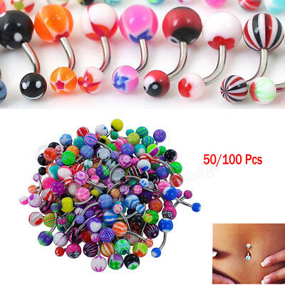 UK 50/100Pcs Belly Bars Navel Button Ring Body Piercing Jewellery Surgical Steel