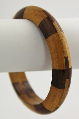 VINTAGE Jewelry INTRICATELY INLAID WOOD PUZZLE BANGLE BRACELET
