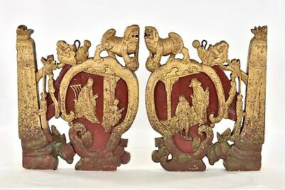 Pair of Antique Chinese Red & Gilt Wood Carving / Carved Panel
