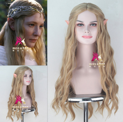 The Hobbit Galadriel Blonde Long Wavy Synthetic Cosplay Wig V-1