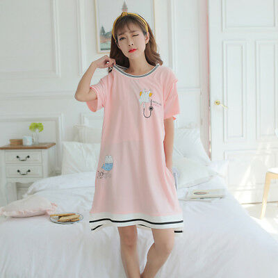 BU_ Cartoon Maternity Sleepwear Pregnant Women Breastfeeding Pajamas Nightgown C