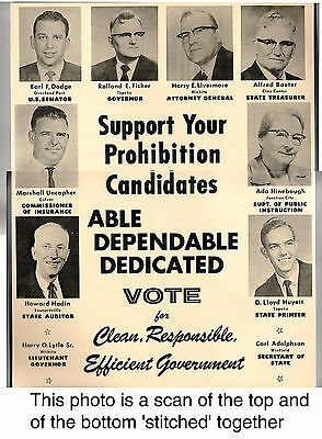 VINTAGE POSTER Prohibition Candidate KANSAS 1966 Photos Governor Senator etc.