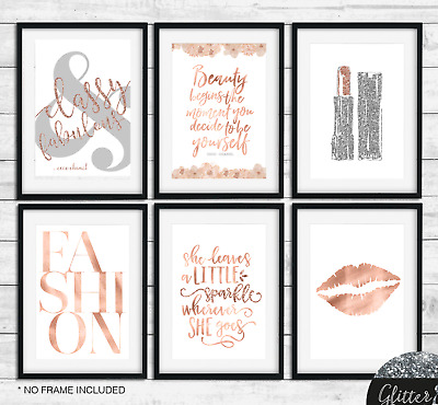 Fashion Art Rose COCO CHANEL QUOTE Beauty begins office bedroom wall art print