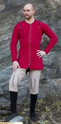 Medieval thick padded Red color Gambeson coat Aketon armor jacket SCA LARP