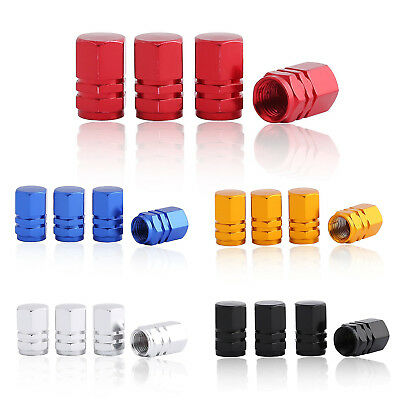 Blue Aluminum Tire Wheel Stem Air Valve Caps with Hexgon Style 4 Pcs/Set