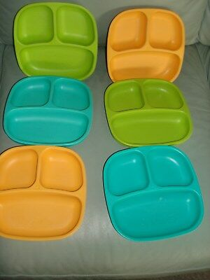 Re-Play 6 Pack Divided Plates BPA Free Dishwasher Safe Child Feeding Blue Green