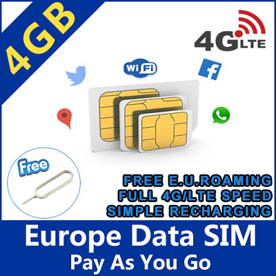 EU SIM card holiday trip 4GB data Internet Spain France Italy Greece Portugal 4G