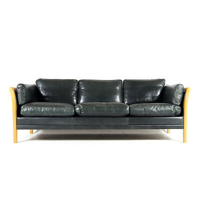 Retro Vintage Danish Leather 3 Seat Seater Sofa 60s 70s Scandinavian Mid Century