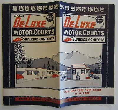 Vtg Route 66 Road Map Highway 99 DeLuxe Motor Courts CA AZ TX Motel Photos 1949