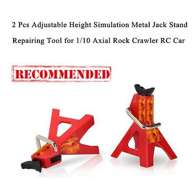2 X6 TON Adjustable Height Metal Jack Stand For 1/10 D90 Axial RC Car Simulation