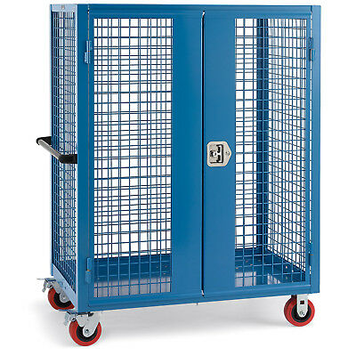 """Wire Security Truck, 48""""W x 30""""D x 60""""H, 5"""" Poly Casters, Blue, Lot of 1"""