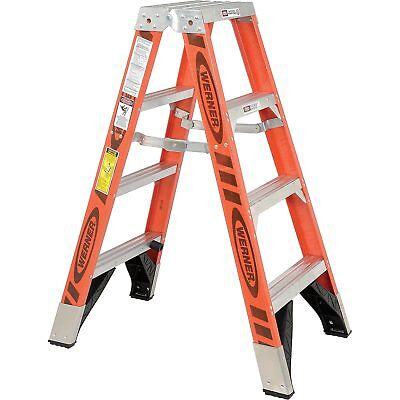 Werner T7404 4' Dual Access Fiberglass Step Ladder 375 lb. Cap, Lot of 1