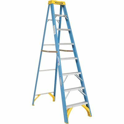 Werner 6008 8' Fiberglass Step Ladder w/ Plastic Tool Tray 250 lb. Cap, Lot of 1