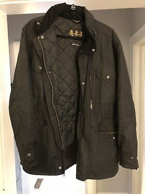 Mens BARBOUR Sapper WAXED Coat Jacket Black Size L, new without tags