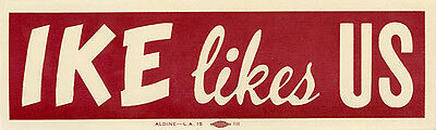1952 Dwight Eisenhower IKE LIKES US Auto Window Sticker (4413)