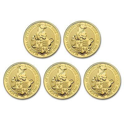 Bank Wire Payment. 2018 Great Britain 1 oz Gold Queen's Beasts Bull (Lot of 5)