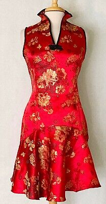 Sleeveless Modern Chinese Cheongsam Qipao Summer Fashion Dress with Gold Flowers