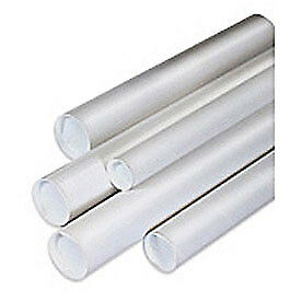"""Mailing Tube With Cap, 18""""L x 2"""" Dia., White, 50 Pack, Lot of 1"""