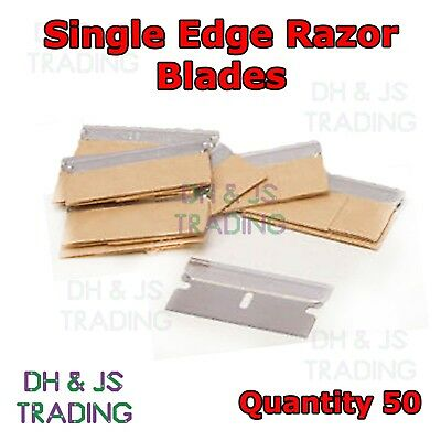 50 x Single Edge Razor Blades - Window Scraper Blade Oven Cleaning Craft Art Cut