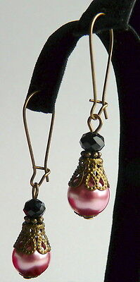 Victorian Vintage Style Rose Pink Pearl & Black Crystal Antiqued Bronze Earrings