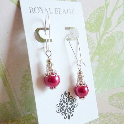 Victorian Vintage Filigree Style Dark Pink Rose Pearl Silver Drop Earrings