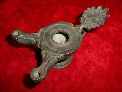 Very Old ANTIQUE BRONZE Classic ROMAN OIL LAMP w/Twin Wick FONTS & Pedestal Base