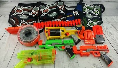 Lot of 4 Nerf Guns and Accessories foam dart toy gun stocks clips