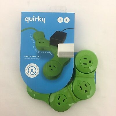 Quirky Pivot Power Junior 4 Outlets Power Strip w// Surge Protector Lime Green
