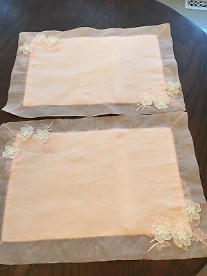 TWO Vintage Organdy Pillow Shams WITH APPLIQUE EMBROIDERY SOFT PINK