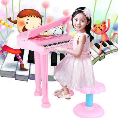 Kids Electronic Keyboard 37 Key Piano Musical Instrument Toy W/ Microphone+Stool
