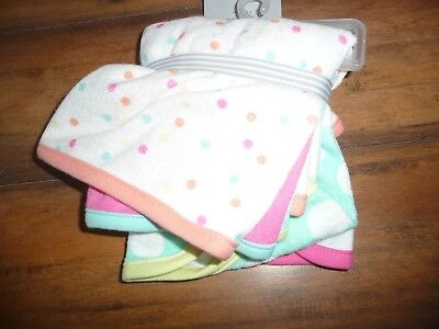 NEW/NWT-Carter's girls Washcloths-Set of 5 polka dots/colorful/terry