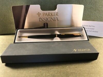 Vintage Parker Insignia Ballpoint Pen In Box Black/gold Trim In Box-Made In Usa