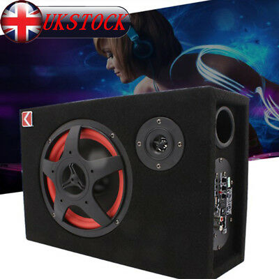 350W 6'' Under-Seat Car Active Subwoofer Speaker Stereo Bass Audio Powered Amp