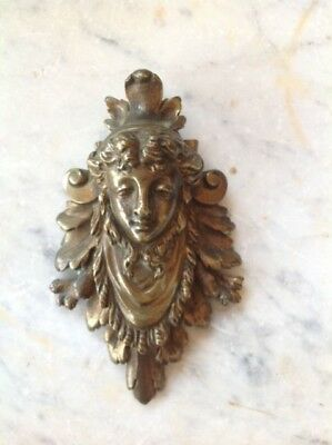 Antique French Decorative Bronze Wall Hanging Lady's Face Small