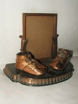Vintage Antique Bronze BABY SHOES w Photo FRAME Tabletop Display Piece as is