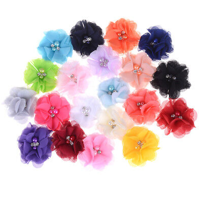 10 Shabby Chiffon Chic Flower Roses Trim Ivory White Coral Pink Blue Yellow Gray