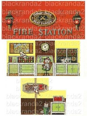 Vintage Fisher Price Little People 928 Fire Station Replacement Lithos Decals