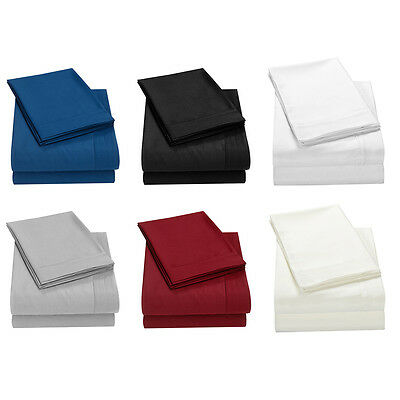 4 Piece Deep Pocket Fitted Comfort 1800 Count Bed Sheet Set Twin Full Queen King