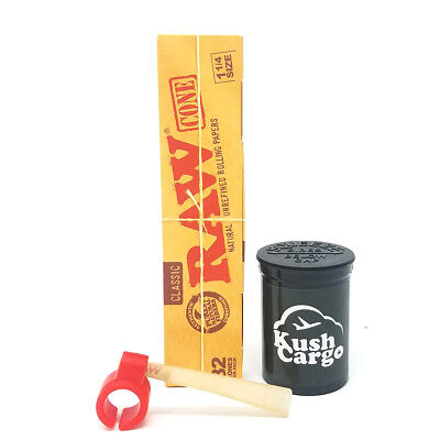 RAW Classic Unrefined Pre-Rolled Cone 32 Pack King Size With Silicone Holder